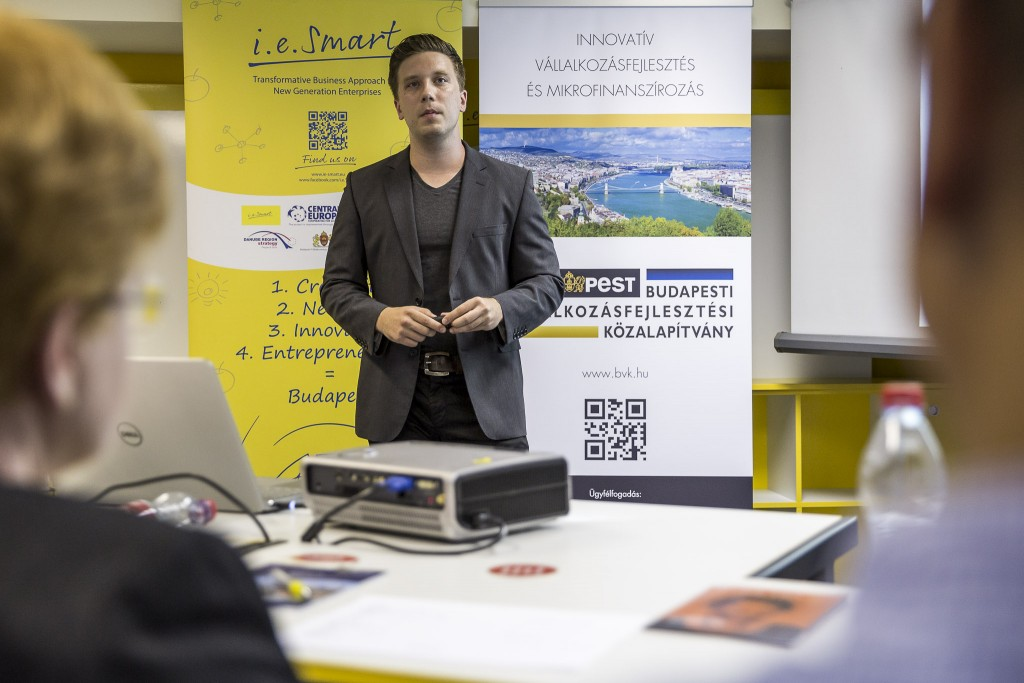 Mátyás Bence, a BVK 2. BE SMART startup versenyén